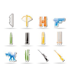 Hunting and arms icons vector