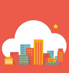 Flat style modern city in the cloud vector