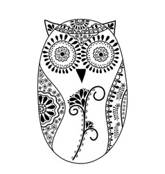 Abstract floral owl vector