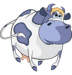 Happy blue cow cartoon vector