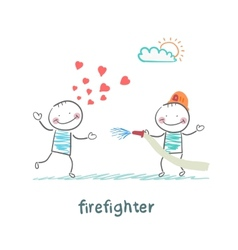 Firefighter extinguishes a girl who fell in love vector