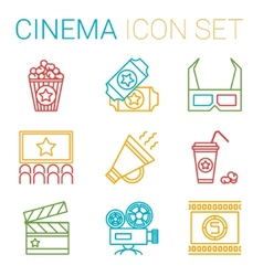 Flat line icons set of professional film vector