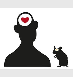 Man and hamster silhouettes vector