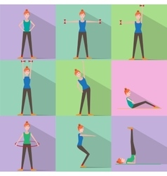 Girl fitness icon active lifestyle vector