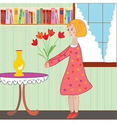 Girl child arranging flowers in the room vector