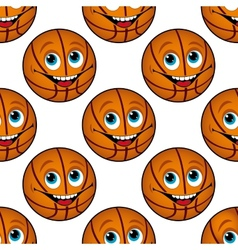 Seamless pattern of a happy cartoon basketball vector