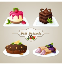 Sweets dessert set vector
