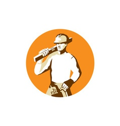 Builder construction worker spirit level toolbelt vector