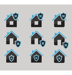 Set of house protected icons vector