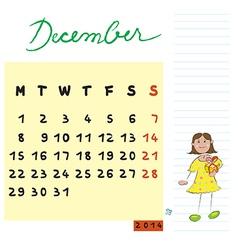 December 2014 kids calendar vector