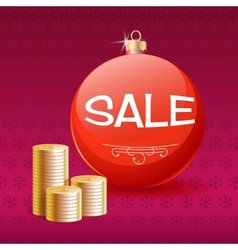 Gold coins and christmas sale ball vector