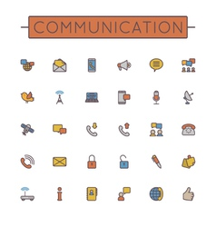 Colored communication line icons vector