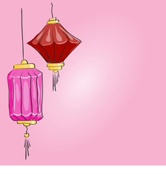 Drawing two chinese lantern on a pink background vector