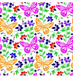 Colorful butterflies and flowers vector