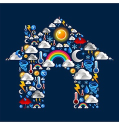 Weather icons set house vector