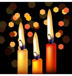 Three festive candles vector