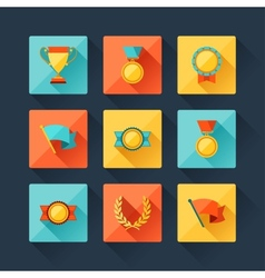 Trophy and awards icons set in flat design style vector
