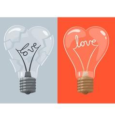 Love lightbulb in shape of heart vector
