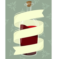 Bottle of wine with banner vector
