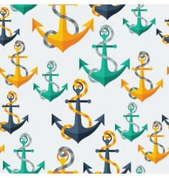 Nautical seamless pattern with anchors and rope vector