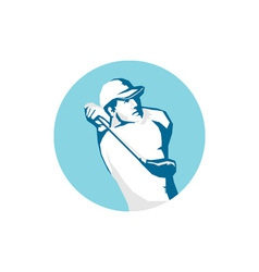 Golfer tee off golf stencil vector