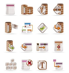 Database and table icons vector