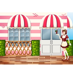 A waitress near the entrance door of the hospital vector