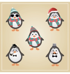 Winter hipster penguins vector