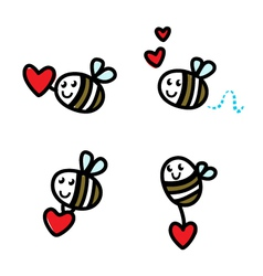 Cute flying bee doodle vector