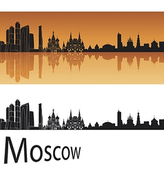 Moscow skyline in orange background vector
