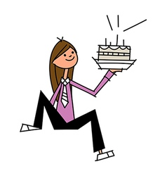 Close-up of woman holding cake vector