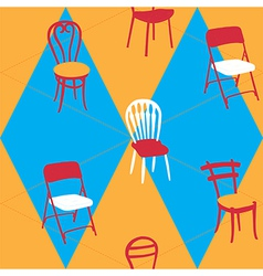 Seamless pattern with chairs vector