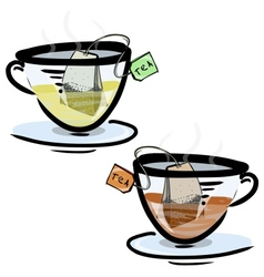 Green and black tea in glass cups vector