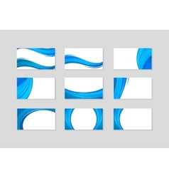 Set of business card with abstract blue waves vector