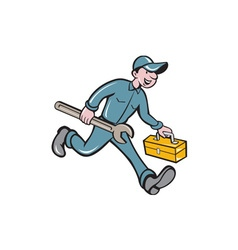 Mechanic carrying toolbox spanner isolated cartoon vector