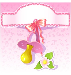 Baby greetings card with pink nipple eps10 vector