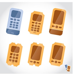 Mobile phone booking online tickets icons vector