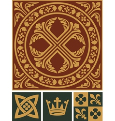 Middle ages ornament set vector