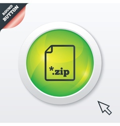 Archive file icon download zip button vector