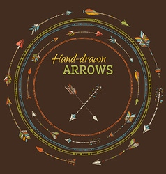 Round frames of ethnic arrows on brown background vector