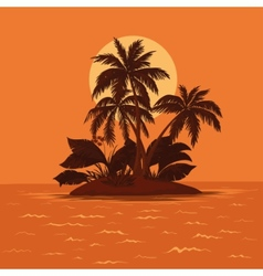 Palm and sun vector
