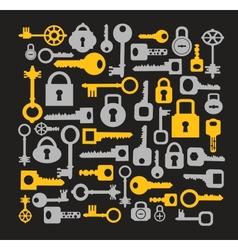 Keys and locks on a black vector