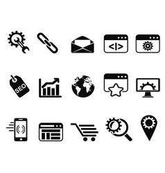 Seo services icons set vector