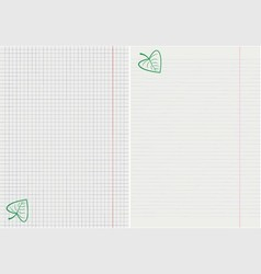 Pages from notebooks with a leaf vector