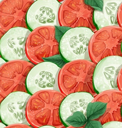 Seamless pattern of cucumbers and tomatoes vector