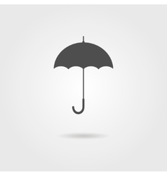 Black icon of umbrella with shadow vector