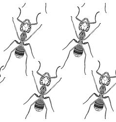 Zentangle stylized black ant seamless pattern hand vector