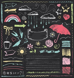 Vintage chalkboard design elements hand drawn set vector