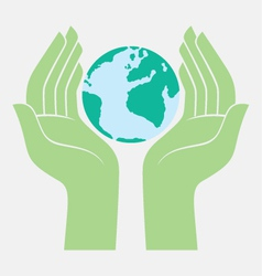 Save the earth protected by hands vector