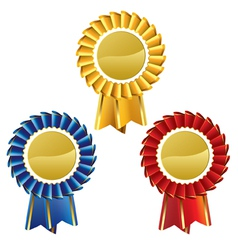 Award rosette medal set vector